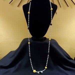 LOFT Black Yellow Bead Necklace #562